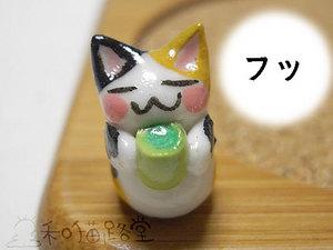 お茶のみ猫の竹コースター