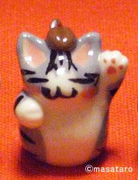 猫ストラップ:サバトラ白猫