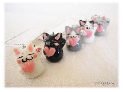 手作り猫のストラップ