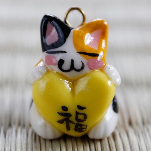 よくばり福ハート(きいろ)猫チャーム