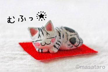 和紙仕上げの猫の置物