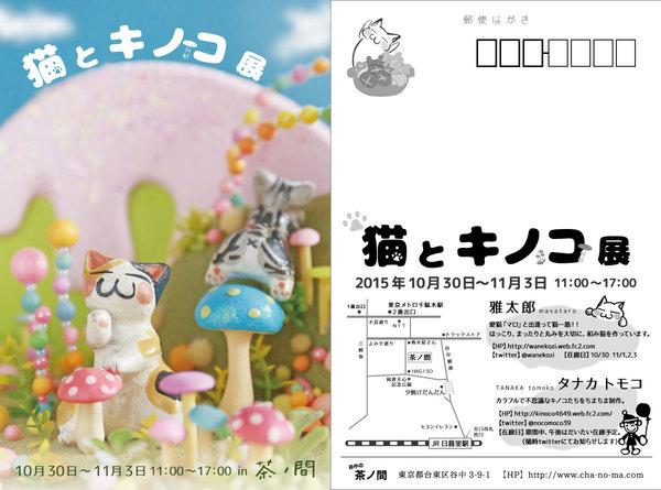 猫とキノコ展 DM画像